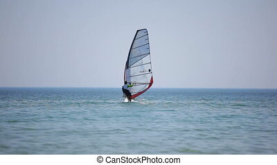Training for windsurfing. Black Sea.