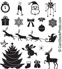 Christmas icon set - Christmas silhouettes with Santa,...