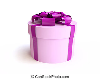 Pink Round Gift Box with  Ribbon