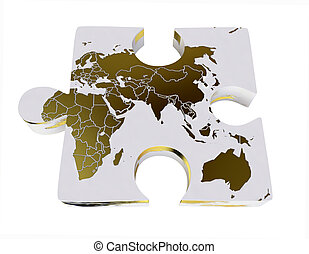 World Map On 3D Jigsaw Puzzle