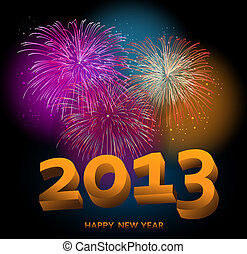 Happy New Year 2013 fireworks night scene background. EPS10...