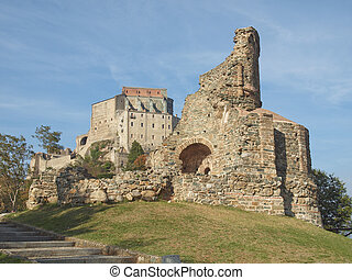 Monks sepulchre - Ruins of the Monks Sepulchre at Sacra di...