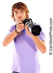 camera man - Handsome young man taking pictures on the...