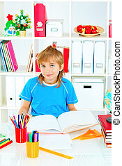 home study - A boy doing his lessons at home.