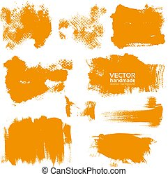 Abstract orange vector set backgrounds draw by brush and ink