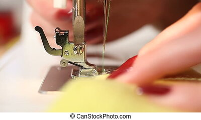 Sewing. Locked down, CU, HD1080 - 30p