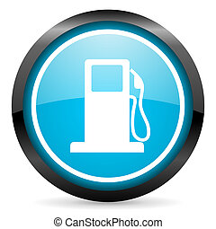 fuel blue glossy circle icon on white background