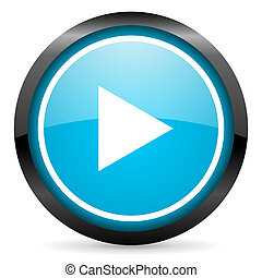 play blue glossy circle icon on white background