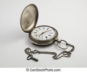 Antique Clock 1 - Antique pocket watch in silver with small...