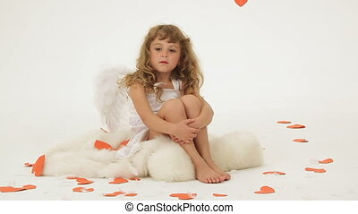Cute angel - Little girl dressed as angel posing for camera