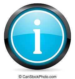 information blue glossy circle icon on white background