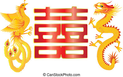 Dragon and Phoenix with Chinese Double Happiness - Dragon...