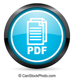 pdf blue glossy circle icon on white background