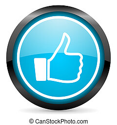 thumb up blue glossy circle icon on white background