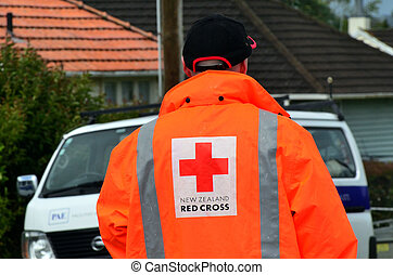 Red Cross volunteer during aide assistant