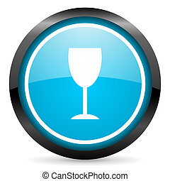 glass blue glossy circle icon on white background