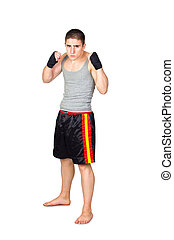 Young Kickboxer Isolated on White