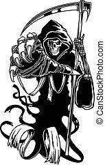 negro, muerte, guadaña