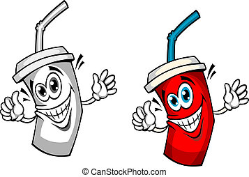 Fresh soda drink with straw in cartoon style