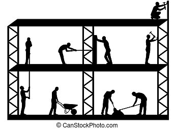 Workers on scaffold - Illustration of team workers working...
