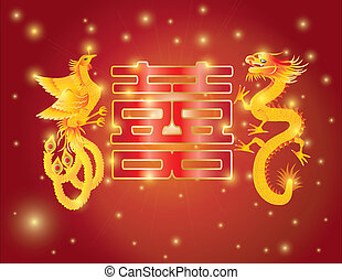 Dragon and Phoenix Double Happiness Red Background - Dragon...