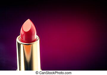 lipstick on purple background