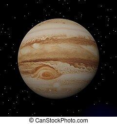 Jupiter planet at night - 3D render - Jupiter with its...