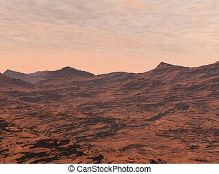 Mars landscape - 3D render - Red desert and clouds to...