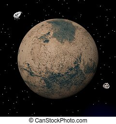 Mars planet and Deimos and Phobos satellites - 3D render -...
