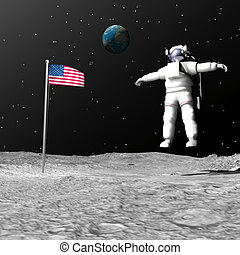 First man on the moon - 3D render - First astronaut on the...