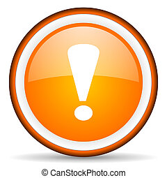 exclamation sign orange glossy circle icon on white...