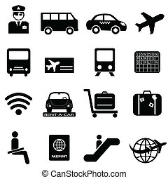 lotnisko, powietrze, podróż, ikony