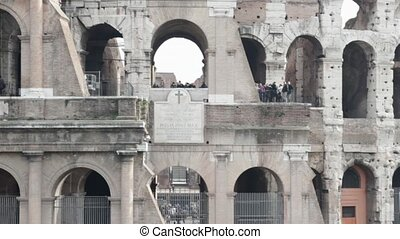 Coliseum close up - View of ancient roman coliseum ruins....