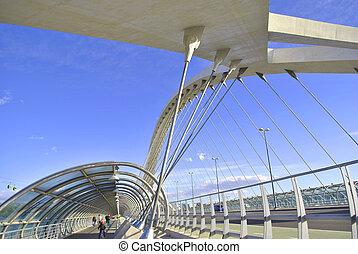 Inside of the bridge Tercer Milenio in Zaragoza