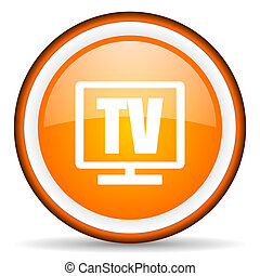 tv orange glossy circle icon on white background