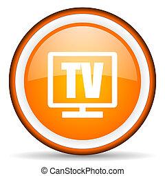 tv orange glossy circle icon on white background