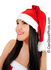Young brunette christmas girl - Isolated young brunette...