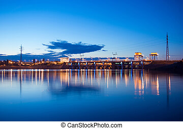 Night lights hydroelectric dam at the Dniper river, Kiev,...