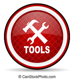 tools red glossy icon on white background