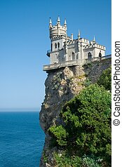 The well-known castle Swallows Nest near Yalta in Crimea,...