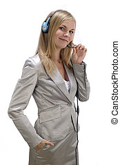 Business woman with headset. Isolated over white background