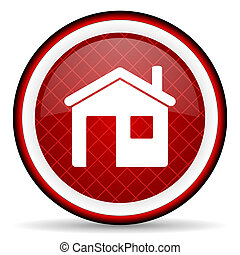 home red glossy icon on white background