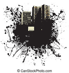 city state - Grunge ink splat business background with copy...