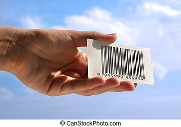 hand holding business card with fake bar code, photo does...
