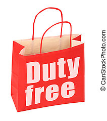 paper bag with duty free sign - red paper bag with duty free...