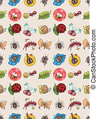 seamless bug pattern,cartoon vector illustration