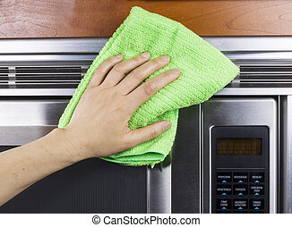 Cleaning Kitchen Appliance Fan Vents on Microwave Oven -...