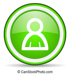 contact green glossy icon on white background