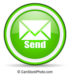 send green glossy icon on white background
