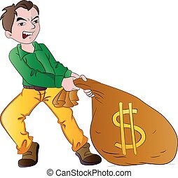 Man with a Bag of Money, illustration - Man with a Bag of...